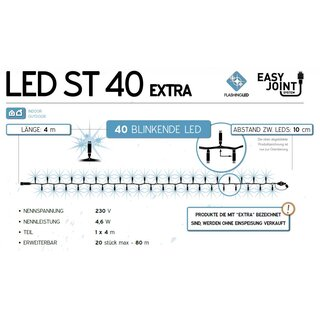 LED-ST40-WF: 4m Flashing LED Lichterkette, 40 weißes Flashing LED, weißes Gummi Kabel, one segment, erweiterbar 20 Ketten, Easy Joint, 4.6W, 230V (AC2-LED not included)    --> Licht