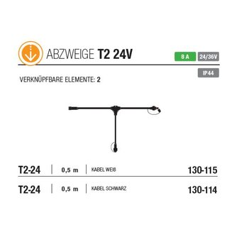 T2-24: 0.5m Low Voltage T connecting cable, 2 Low Voltage Output, weißes Gummi Kabel,  8 A, 24V/36V    --> Licht